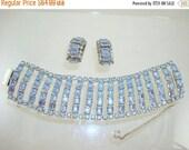 Light Blue Rhinestone Bracelet/Earrings Set