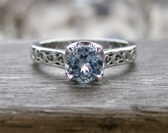 Icy Blue Montana Sapphire Engagement Ring in 14K White Gold with Vintage Style Scroll Motif Size 6