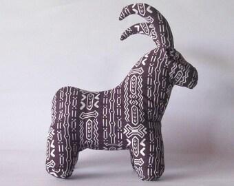 Sable Antelope stuffed African animal wildlife handmade African print brown white wildlife theme decor
