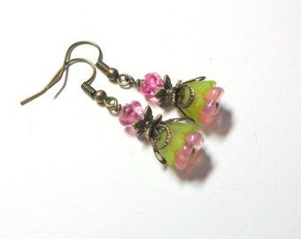 Pink Green Flower Earrings, Tulip Flower Earrings, Cech Glass Flower Earrings, Antique Brass