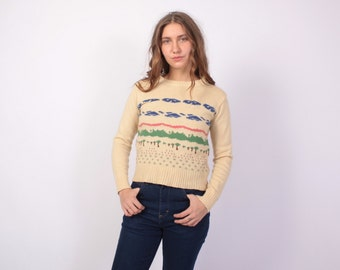 Vintage 70s SWEATER / 1970s Novelty Landscape Pullover Knit Top xs-s
