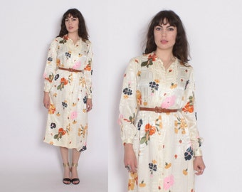 Vintage 70s Floral DRESS / 1970s Shimmery Earth Tone Ivory Floral Midi Shirt Dress S - M