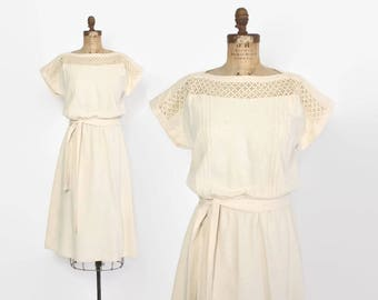 Vintage 80s Silk DRESS / 1980s Ivory Raw Silk Belted Short Sleeve Dress