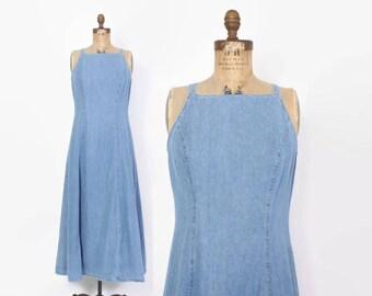 Vintage 90s Denim DRESS / 1990s Minimalist Blue Jean Maxi Dress