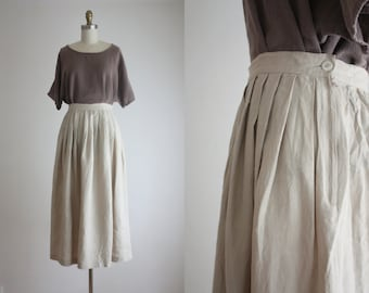 natural linen crinkle midi skirt
