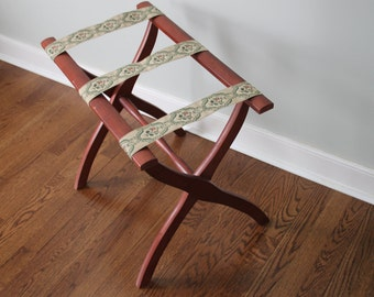 Vintage Wooden Folding Luggage Rack With Floral Straps / Fold Out Stand