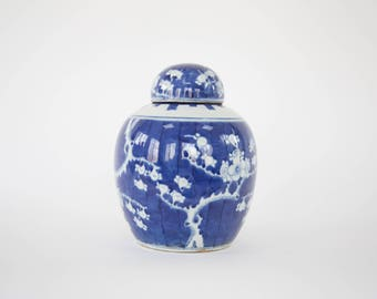 Vintage Blue & White Chinese Cherry Blossom Ginger Jar / Chinoiserie