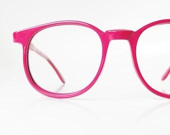 ON SALE Vintage Pink Eyeglasses 1960s Round Designer Eyeglass Frames Hand Made 60s Round P3 Tart Optical Raspberry Geek Chic