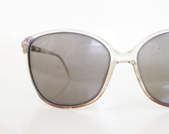 Vintage 1980s Oversized Sunglasses Clear Pastel Blue Pink Indie Hipster Chic Geeky 80s Eighties Classic Retro Sunnies Womens Girls Spring