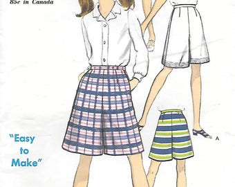 CLOSE OUT/ Vogue 7172 1960s Easy to Make Mod Pantskirt Vintage Sewing Pattern Waist 25 Hip 34