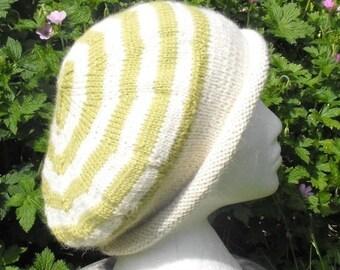 50% OFF SALE Instant digital pdf file download Stripey Roll Brim Tam Slouch Hat pdf download knitting pattern