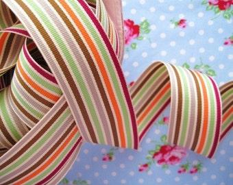 Striped Grosgrain Ribbon - Autumn Harvest - 1 1/2 inch - 2 Yards