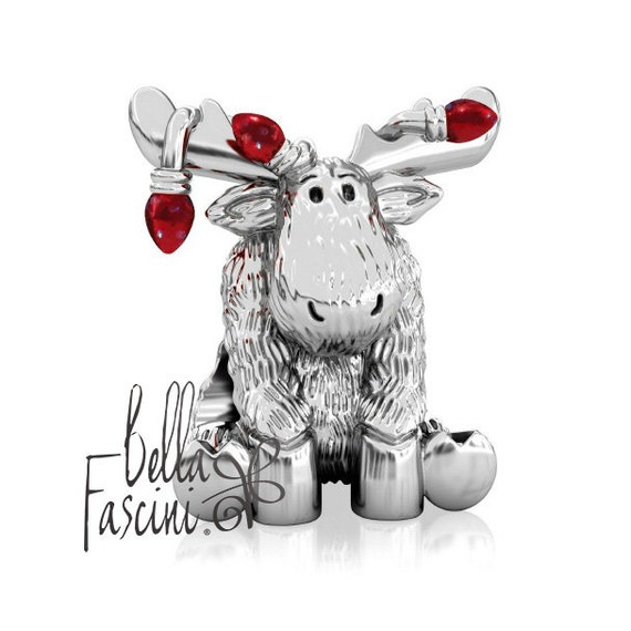 Bella Lux Led String Lights : Christmas Moose Red String of Lights Sterling Silver European