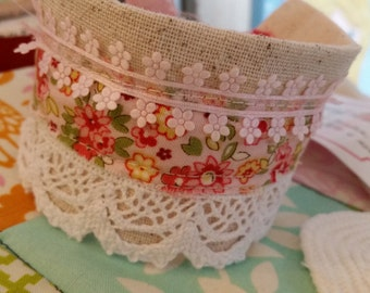 Fabric Cuff Pink Floral Fabric, White Lace, Sheer Pink Ribbon, Tie Closure