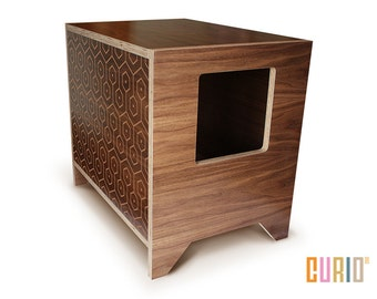 CURIO in Walnut + Pattern | Modern Cat Litter Box | Designer Cat House | Cat Furniture | Pet House | Mid Century Modern | Ready To Ship