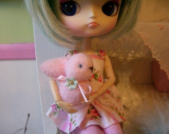 Sweet Little Mini Fleece Bunny....Great for Spring...So Cuddly and Soft...Perfect for Blythe, Dal, or Pullip Dolls