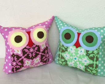 TWO owl pillows/Green / purple/ dots /Polyfil Stuffed little owl pillows/ decoration/collection - Ready to ship