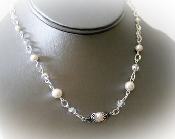Something Blue Bridal Necklace. Swarovski Crystals and Crystal Pearls