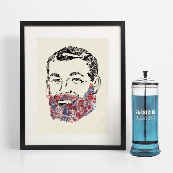 Retro beard art barber shop bathroom decor mens grooming for Mens bathroom decor