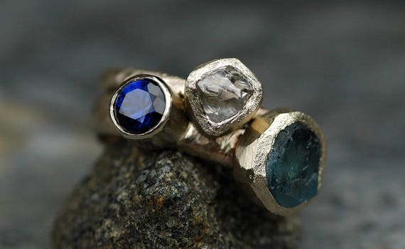 Custom Recycled 18k Gold Stacking Engagement and Wedding  Ring Set- Rough Diamond, Aquamarine, and Sapphire