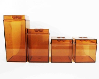 Vintage Kitchen Canister Set in Amber by Dansk Gourmet Designs. Circa 1970's.