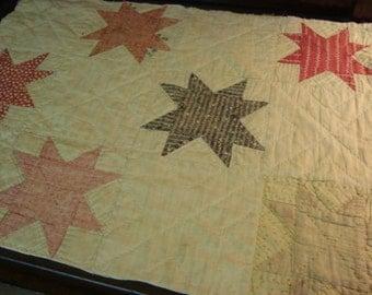 Primitive Antique 1890 Star Quilt Piece