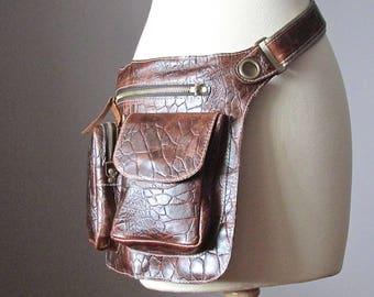 Belt Bag, Leather hip bag, Crossbody bag, Fanny Pack, Hip Bag, leather Bag, Festival Bag, Rustic, Hands Free Bag,  Boho bag