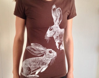 Two hares screenprinted with white ink on brown fine Jersey Cotton crew neck tshirt - womens size Medium, eco friendly vegan clothing
