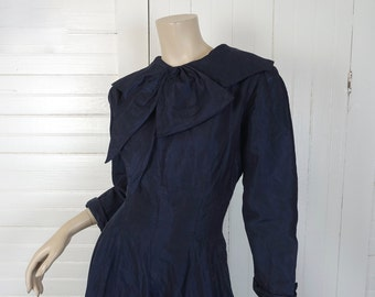 60s Navy Blue Bow Dress- 1950s Fit & Flare- Large- Long Sleeve