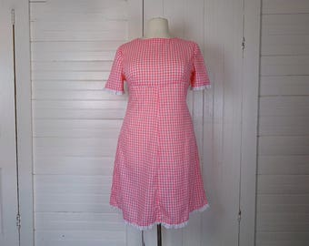 60s Pink Gingham Dress- 1960s Country- Plus Size- Empire Waist- Lace- Shift Dress- Mod- Bridget Bardot