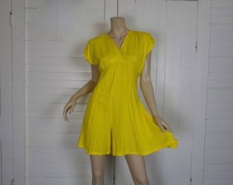 90s Romper in Bright Yellow- 1990s Summer Mini Dress / Shorts / Onesie- Empire Waist- Small- Lemon Yellow