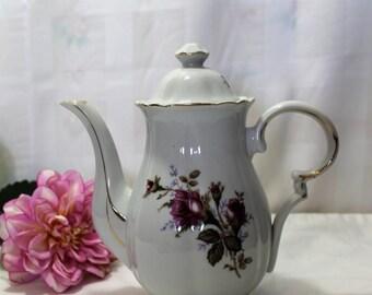 Vintage Porcelain Coffee Pot, Tea Pot, Rose Motif