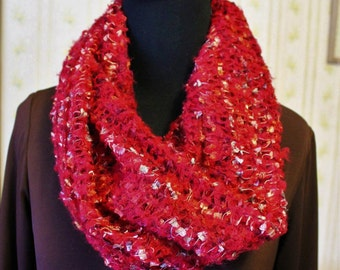 Vintage Raspberry Red Infinity Scarf by Collection Eighteen