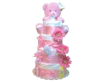 Girl Diaper Cake, Girl Pink Diaper Cake, Girl Diaper Cakes for baby showers, Baby Shower Cakes, Baby Shower Girl Gift, diaper centerpiece