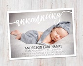 Birth Announcement : Announcing Anderson Baby Boy Custom Photo Birth Announcement - Baby Announcement - Hello Baby - Photo Announcement