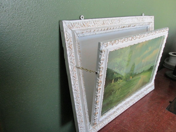 Antique Picture Magazine Rack Wall Hanging Ornate White Gilded