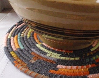 Coiled Mat, Chair Pad, Hot Pad, Trivet - 12 INCH ROUND - Charcoal Gray, Pumpkin Orange, Peach, Lime, Handmade by Me