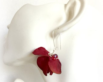 Hydrangea Earrings - Red Hydrangea Ears - Red Flower Earrings - Hydrangea Drops - Jewelry For Her - Gift For Her - Unique Earrings - Red