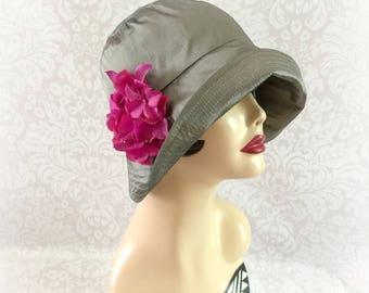 Silk Cloche Hat - Summer Cloche - Vintage Style Hat - Downton Abbey Hat - Dressy Hat - Gray Silk Hat - Hydrangea Accessory - Handmade USA