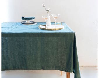 Linen tablecloth. Dark green BOHEMIAN tablecloth. Free shipping to US retail orders