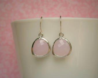 Pink Earrings, Silver Earrings, Bridal Jewelry,  Bridesmaid Earrings, Best Friend Birthday