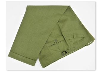 """Vintage 60's Men's green  golf pants  Doug Sanders McGregor 47"""" waist 29"""" inseam - Retro cuffed pants, adjustable waist- linen look"""