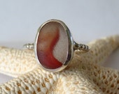 Red Sea Glass & Sterling Silver Ring - English Beach Marble Fragment - Size 7-1/2 - ETERNAL FLAME