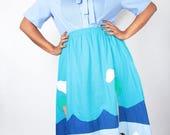 SPRING SALE Vintage 70s Skirt // Blue Novelty ANIMAL Farm Embroidered Patchwork Skirt // Vintage Plus Size Skirt (sz 14 16 18)