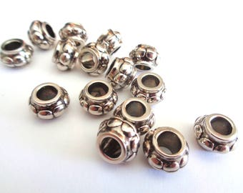 Resin silver beads, 10 X 8mm silver beads, silver plastic beads, resin silver beads, textured beads, loose beads, jewelry supplies, 12pc