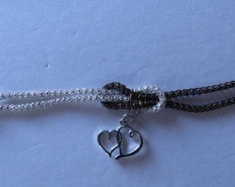 Bronze and White Love Knot Bracelet with Double Heart Charm