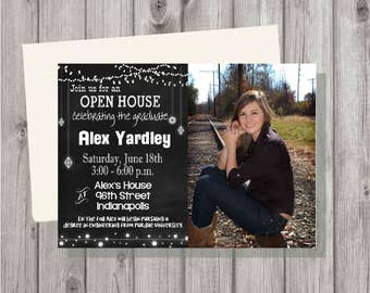 Digital Rustic & Chalkboard Lights Photo Graduation Party Invitation Printable Male or Female