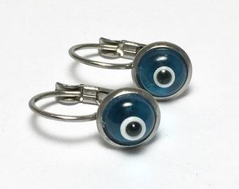 Evil eye earrings - stainless steel - protection - Good luck