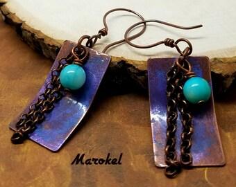 Turquoise Metal and Chain Earrings Hand Painted Vintaj Purple Cyan Copper Drop Earrings Rectangle