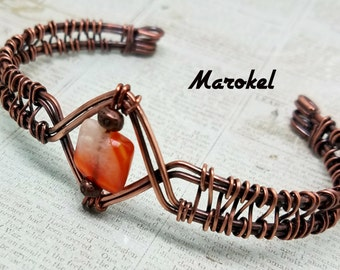 Red Agate Cuff Copper Wire Weave Oxidized Metal Abstract Adjustable